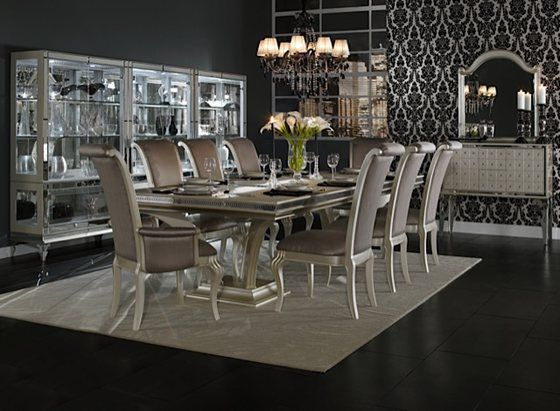 Hollywood Swank 5pc Dining Trestle TablesPedestal TableRectangle