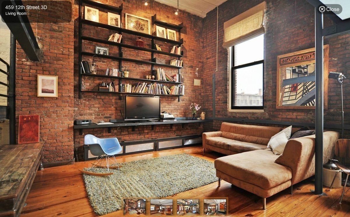 An industrial style loft for 925 000 in park slope for Industrial living room ideas