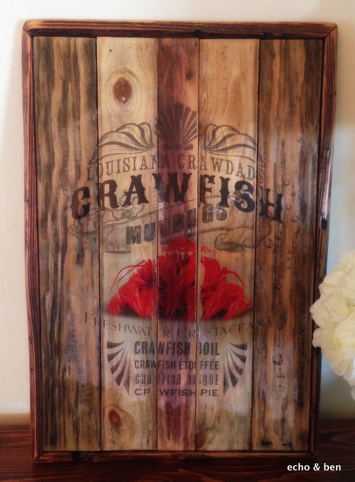 Louisiana crawfish sign on reclaimed wood