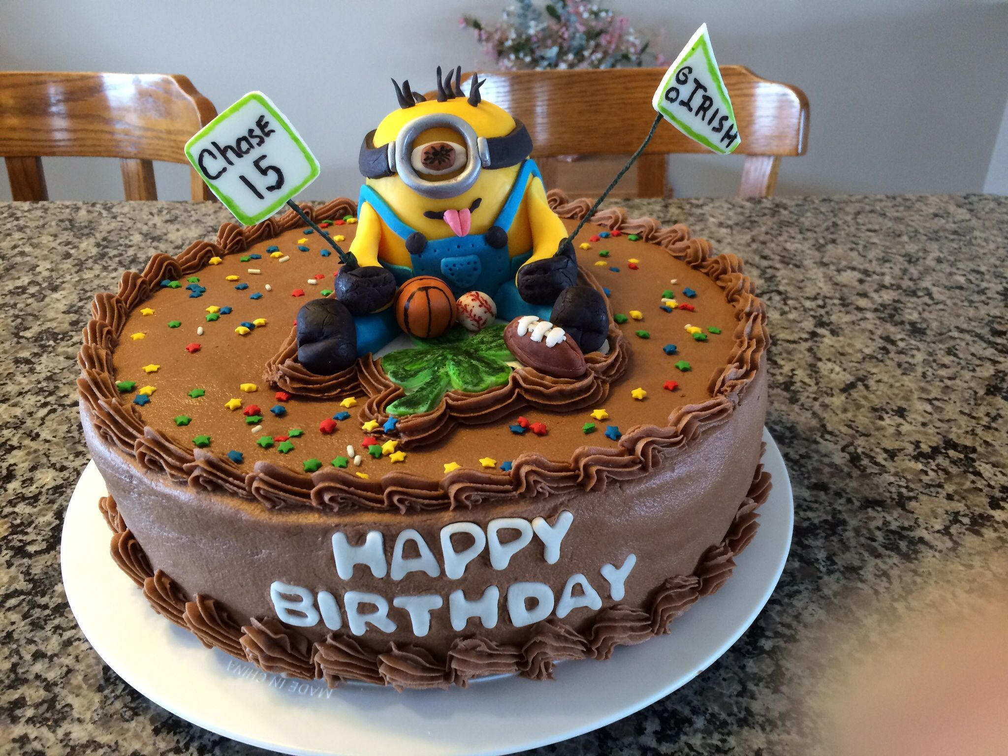 Minion Sports Birthday Cake 12 Inch Chocolate Cake