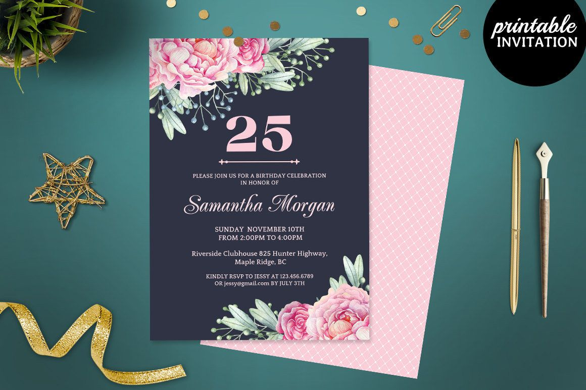 Printable Navy Blue And Pink Watercolor Flowers Birthday