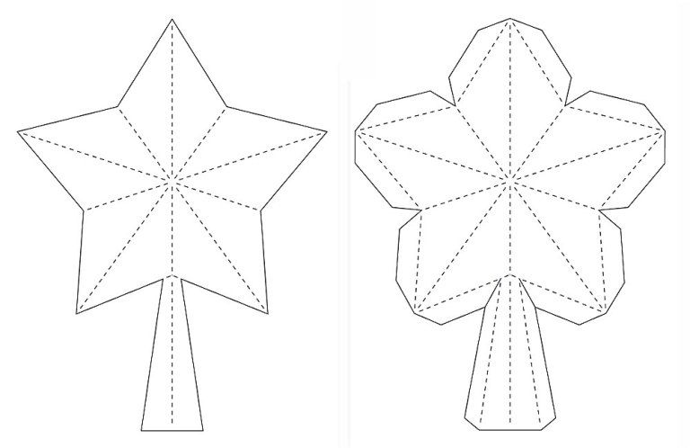 3D Paper Star for Xmas Tree Topper (FREE SVG, DXF, PDF)