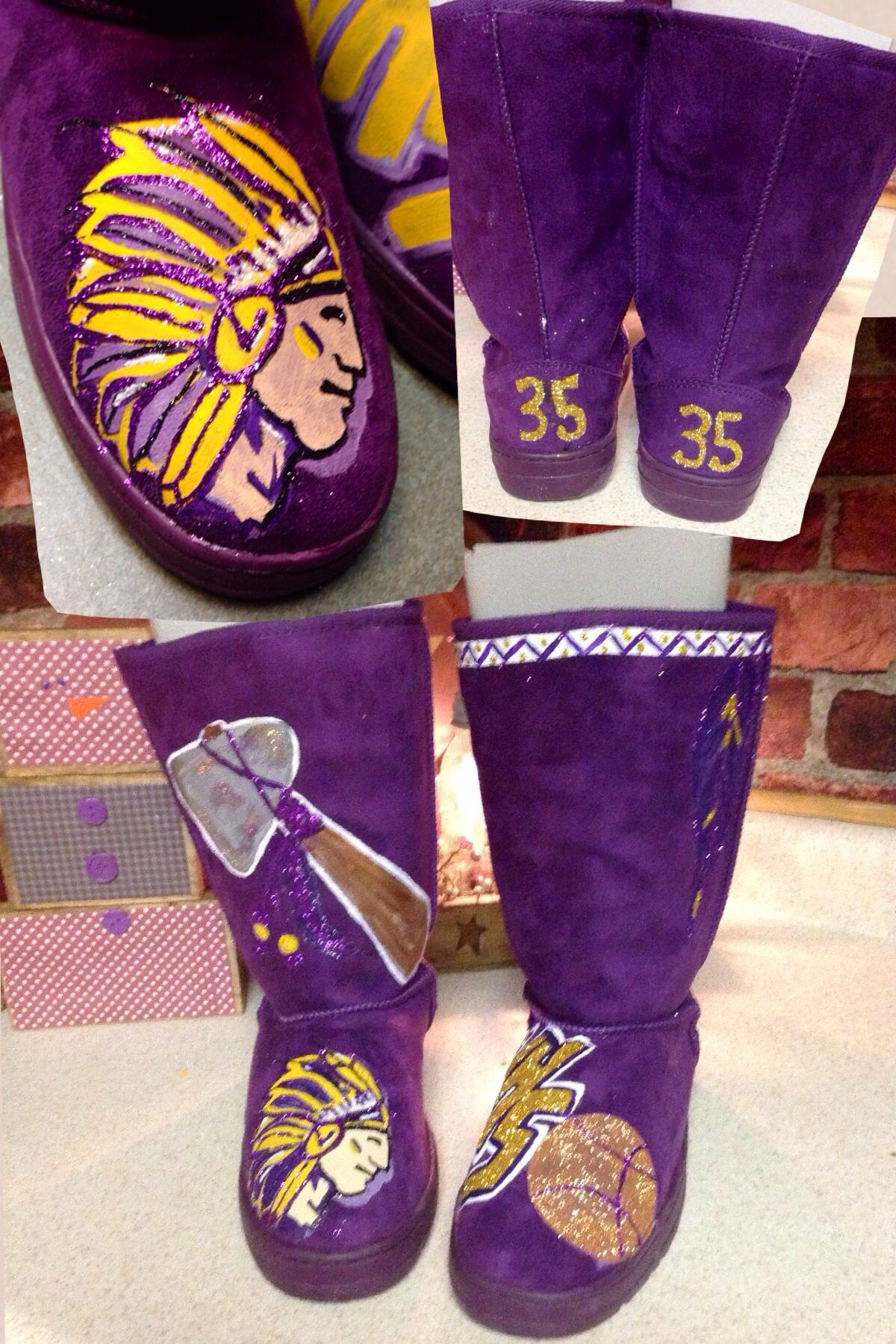Boots i painted for school spirit day or just to wear to