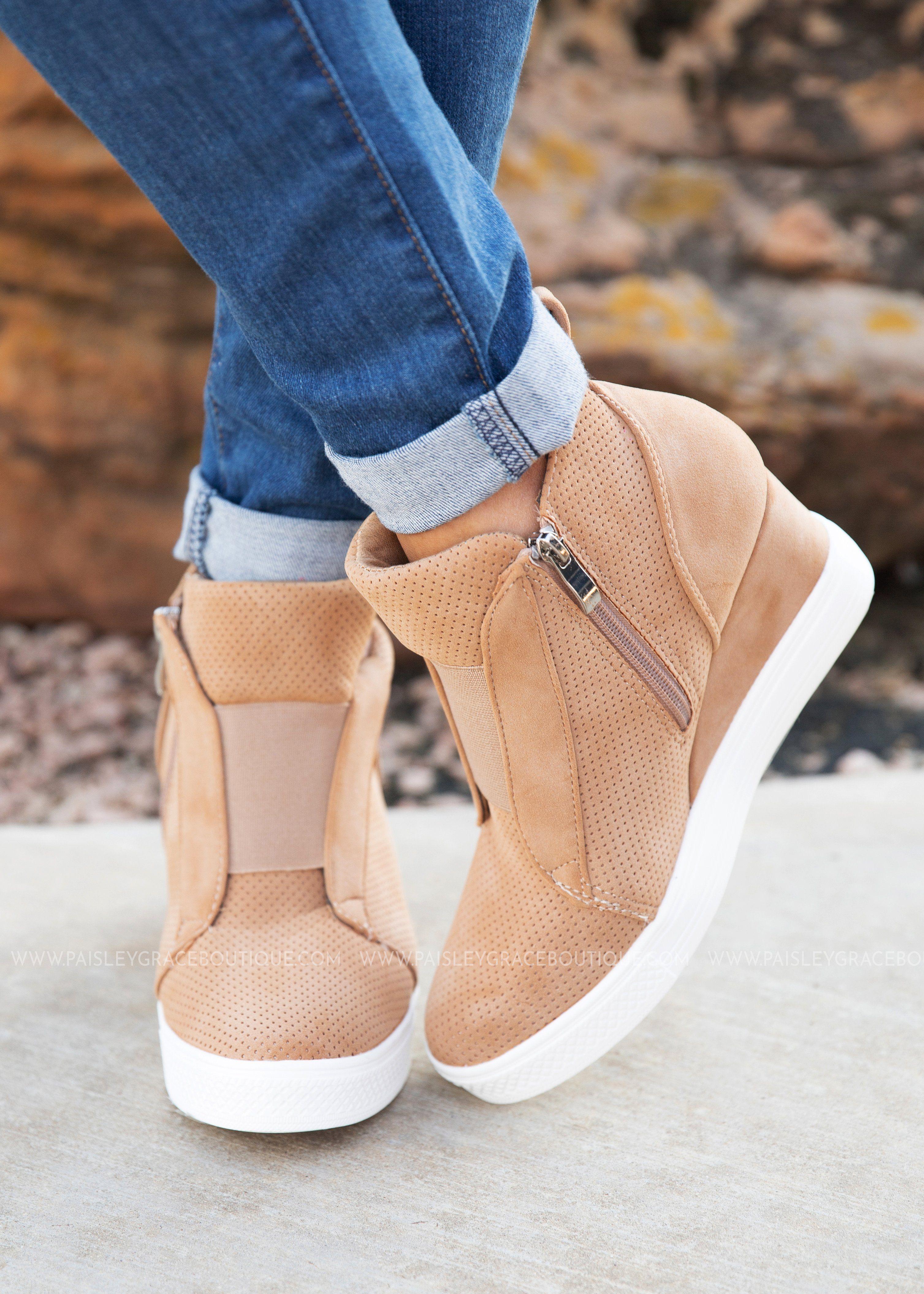 4105b133dfe92 Zoey Wedge Sneaker-CAMEL- RESTOCK in 2019
