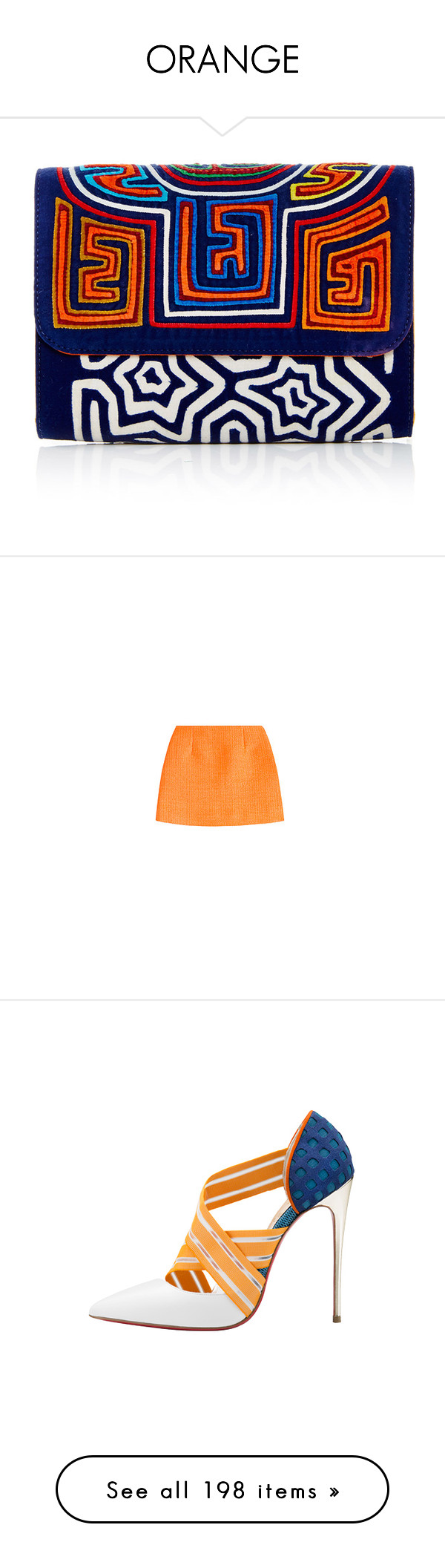 """""""ORANGE"""" by shanelala ❤ liked on Polyvore featuring bags, handbags, clutches, blue clutches, cotton handbags, blue handbags, blue purse, cotton purse, skirts and mini skirts"""
