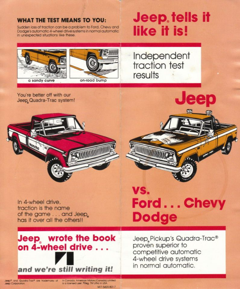 1977 Jeep 4WD Comparison Test vs Ford, Chevy and Dodge 1