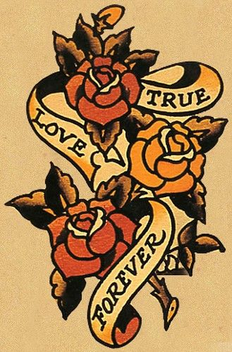 Sailor Jerry True Love Forever Sailor Jerry Tattoos Old School Rose Sailor Jerry Tattoo Flash