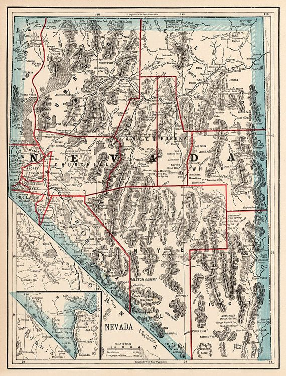 Old map of Nevada from 1895. Historical map restored ...