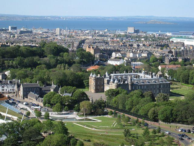 Edinburgh, Scotland  Holyrood Park overlooking Holyrood Palace