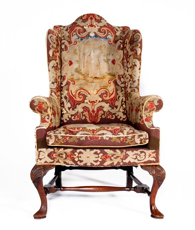 18th Century Queen Anne Walnut Wing Chair With Tapestry Covering Queen Anne Furniture Wing Chair Queen Chair