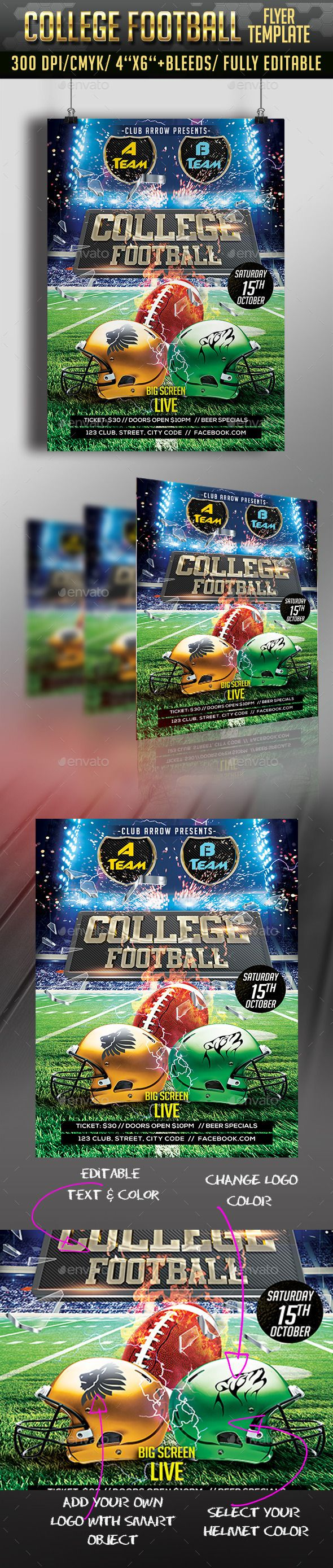 College Football Flyer   Flyer, New year's eve flyer ...