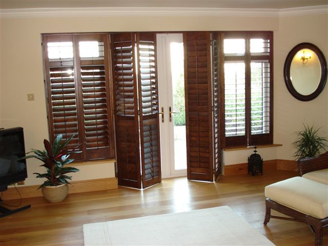 Indoor French Door Shutters Black Walnut 64mm Shutters