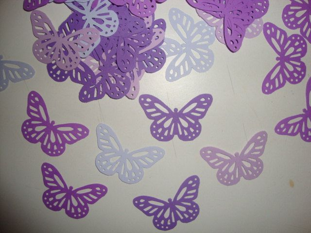 FREE SHIPPING 50 Purple Monarch Butterfly Confetti Lavendar Baby Shower Table Decoration