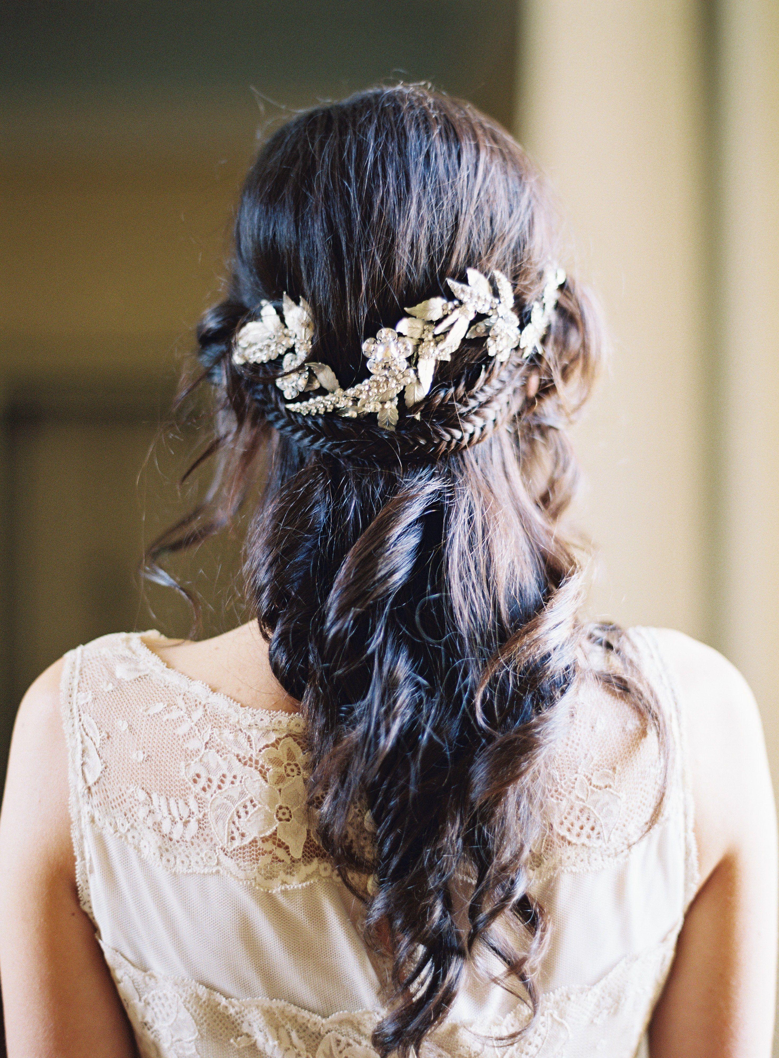grecian-inspired half up half down wedding hair with braid | wedding