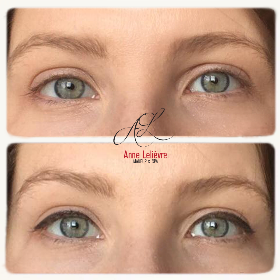 before/after permanent makeup on her eyes freshly done in