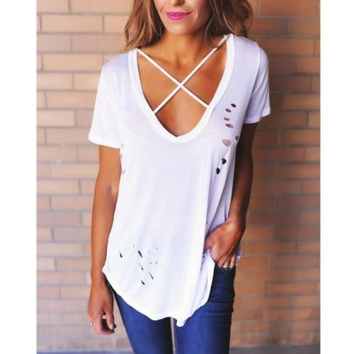 6721b75c7915e6 Women s V Neck T-Shirt Short Sleeve Loose Casual Ladies Tops Blouse ...