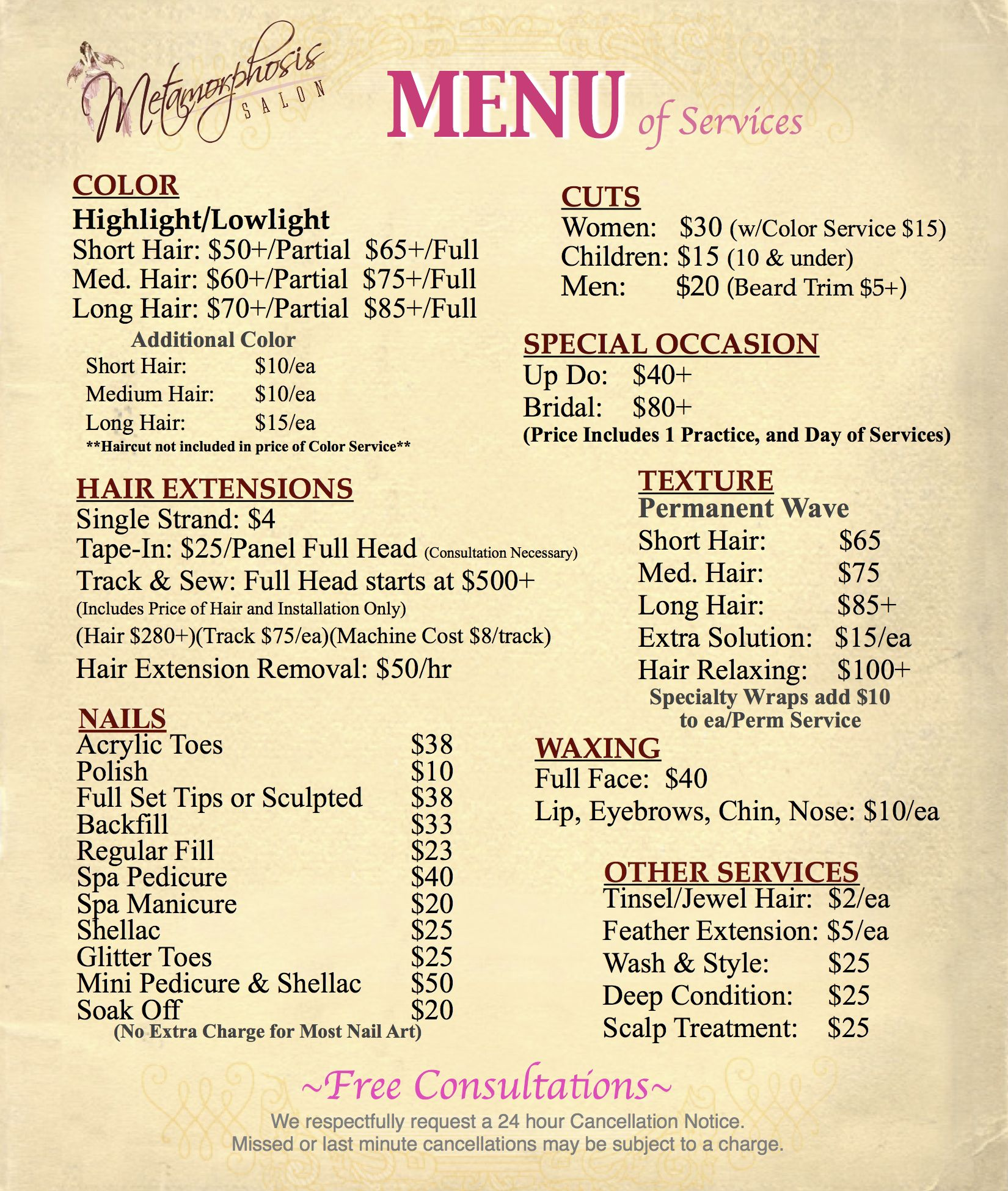 Salon Menu Classic Floral Hair Salon  Stylist By Verymaryk