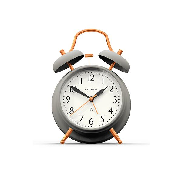 Classic Twin Bell Alarm Clock Silent No Tick Grey Copper Newgate World Alarm Clock Grey Clocks Newgate Clocks