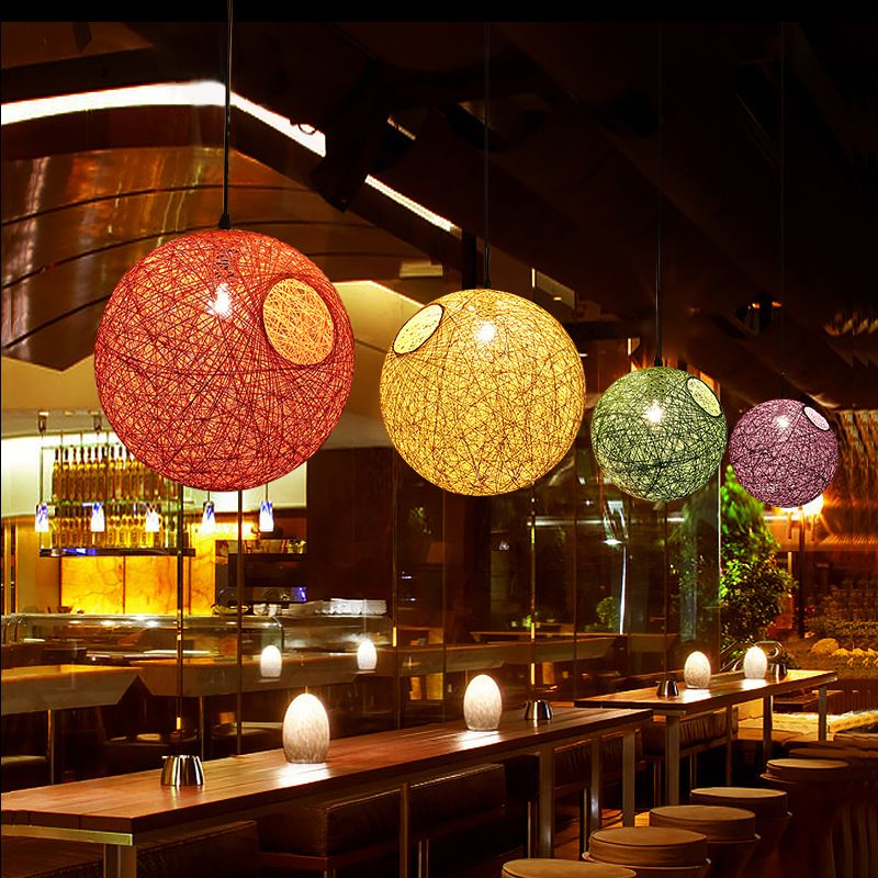 Simple Rattan Ball Chandelier Lamp multiple Color Natural
