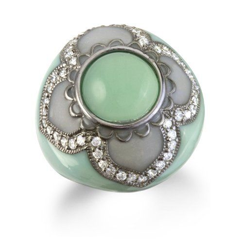 GREEN CHALCEDONY RING WITH LIGHT GREEN ENAMEL CHELINE. $59.00. Save 59%!