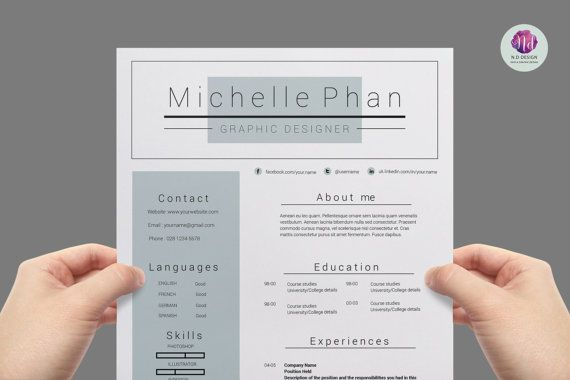 Modern, chic resume package  2-page CV template , cover letter - 2 page resume template