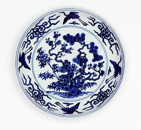 Dish With Design Of The Three Friends 1522 1566 By Jingdezhen Ware Ming Dynasty Blue Decor Three Friends