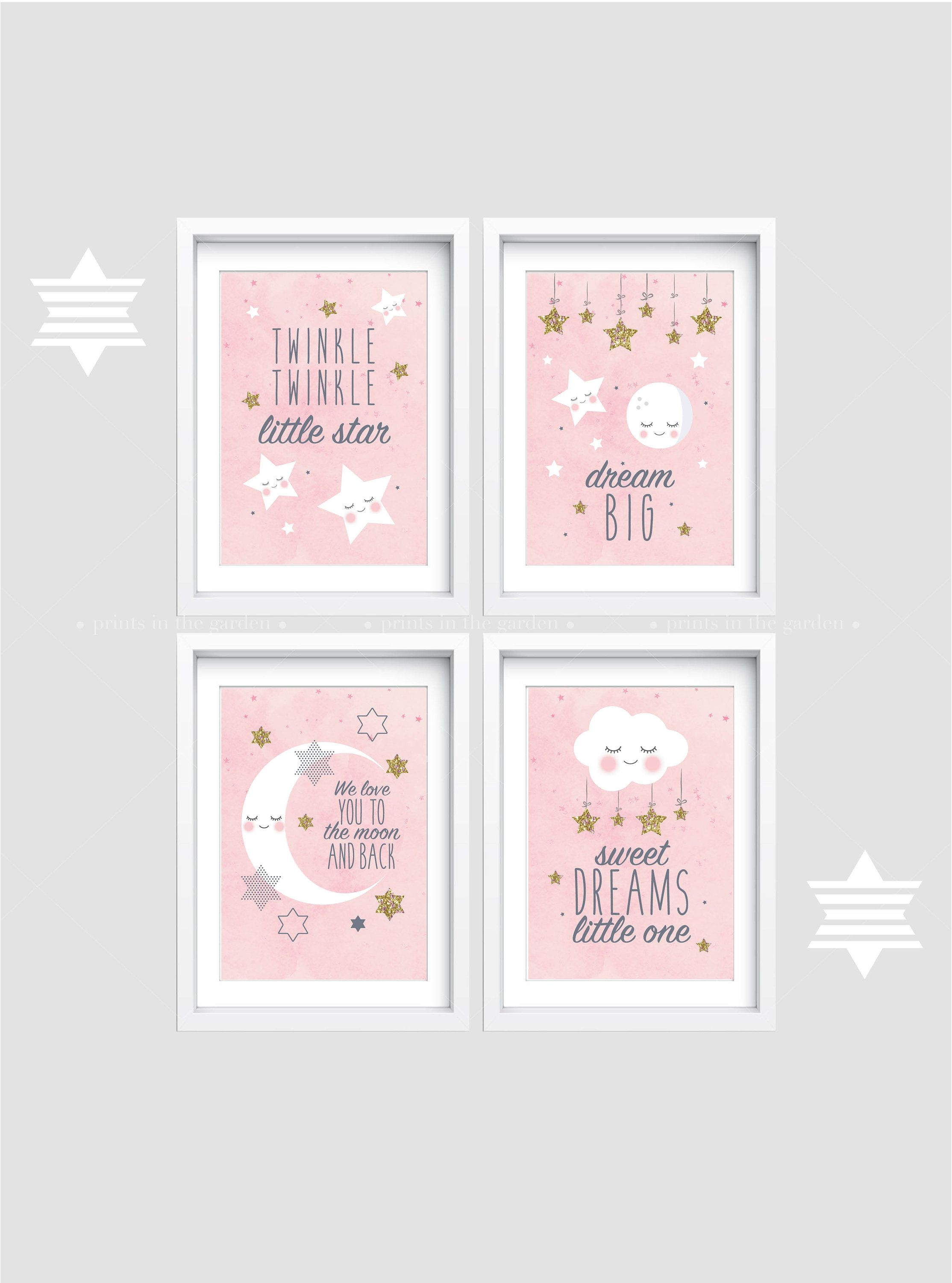 Nursery Prints Girl Nursery Wall Art Set Of 4 Baby Nursery Prints Cloud Nursery