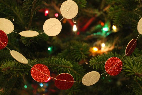 Red and White Circle Glitter Garland 1 Inch Christmas Tree