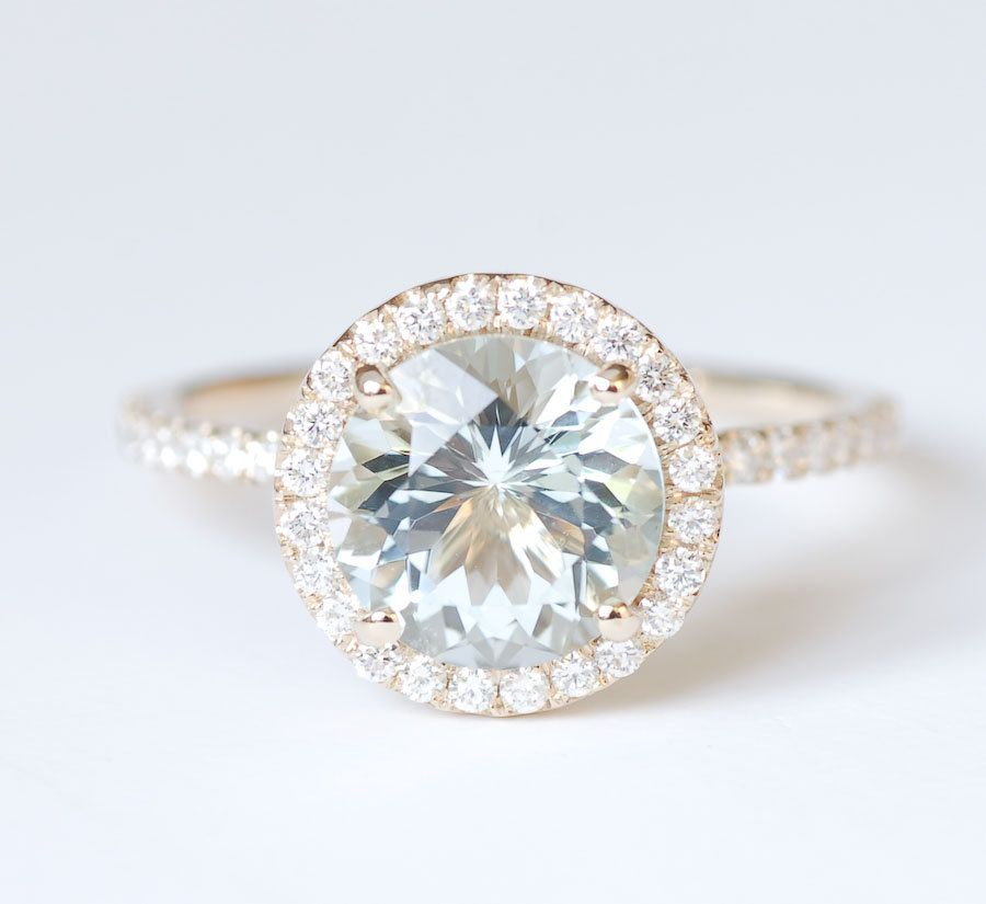 Aquamarine Diamond Halo Engagement Ring 14K