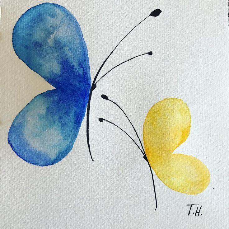 Papillons aquarelles # aquarelle # papillons # couleurs # simplicité # inspiré