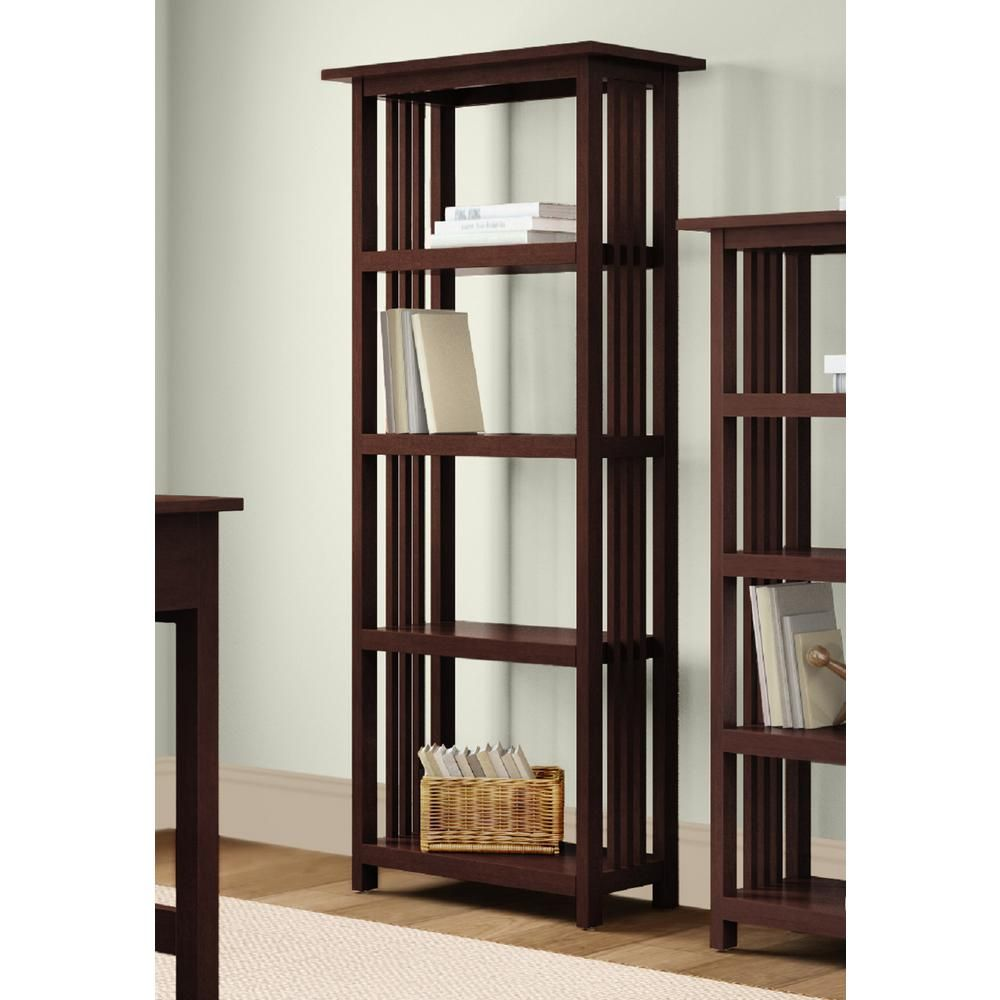 Alaterre Furniture 60 In Cherry Wood 4 Shelf Etagere Bookcase