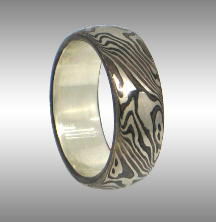 Elegant Mokume Gane Ring With Contrasting Pattern. 14k