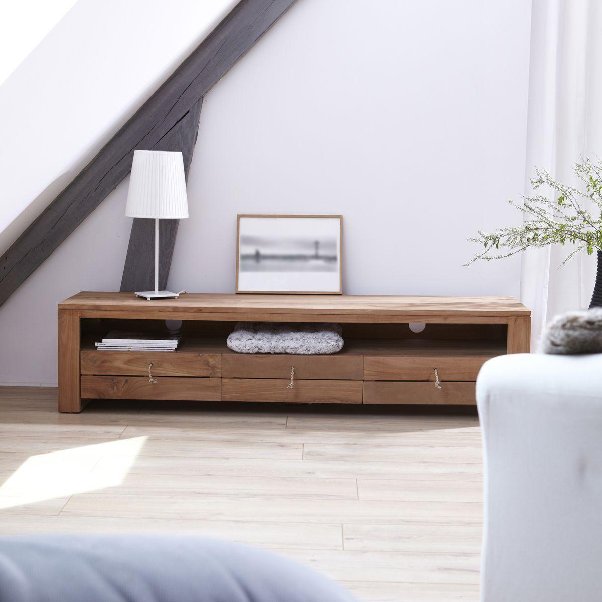 meuble tv bois massif meubles tele chene teck acajou tikamoon