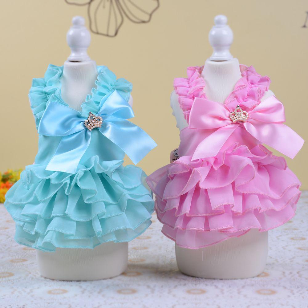 2016 Summer Dog Clothes Princess Wedding Dress Cute Bowknot Cotton ...