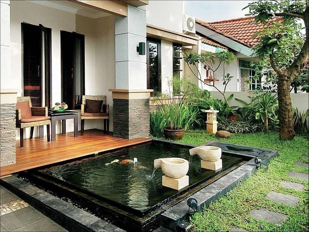 Desain Teras Rumah Dan Kolam Patio Desain Eksterior Rumah House design with backyard