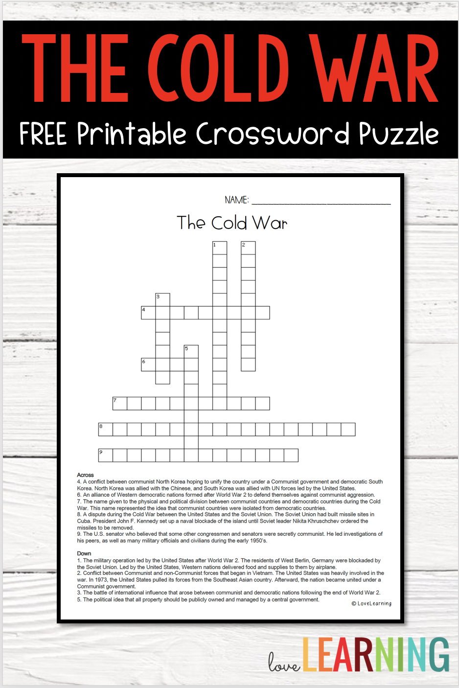 Distance Learning: Cold War Crossword Puzzle Freebie   Cold war [ 1406 x 938 Pixel ]
