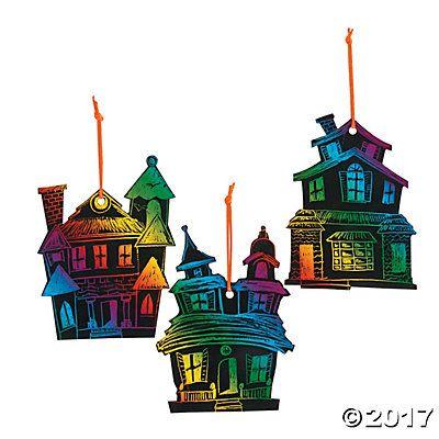 Haunted House Magic Scratch Ornaments DIY HALLOWEEN Pinterest