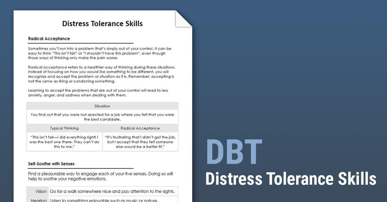 DBT Distress Tolerance Skills (Worksheet) Therapist Aid
