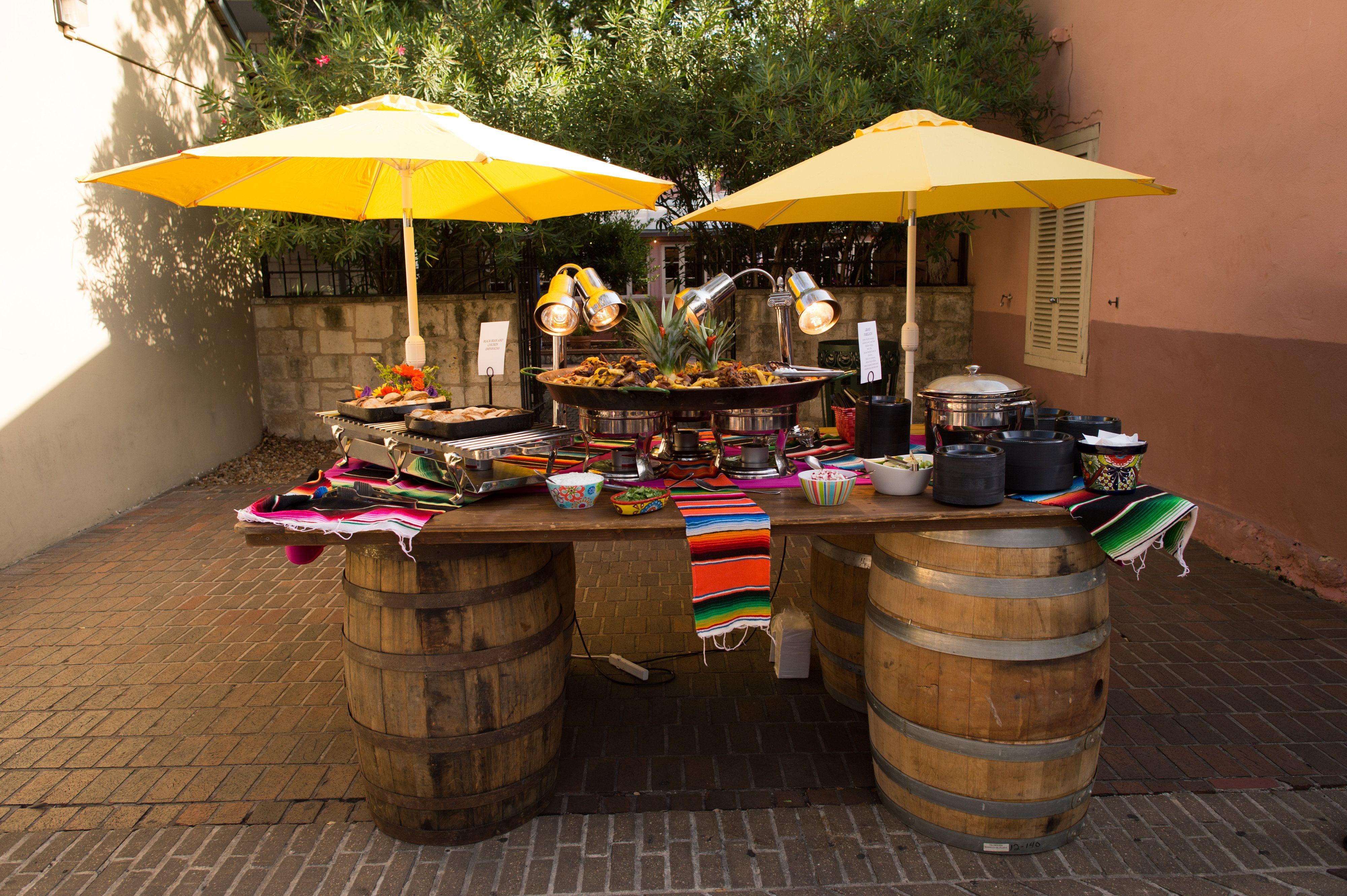 Customized Food Serving Area | Buffet | Market Umbrellas | Event Set ...