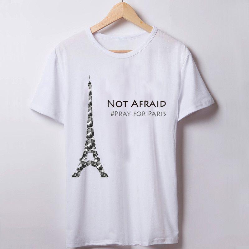 EAST KNITTING H397 Women Pray For Paris Printing Girl Short Sleeve Round Neck T Shirt Tops White Tee Tops