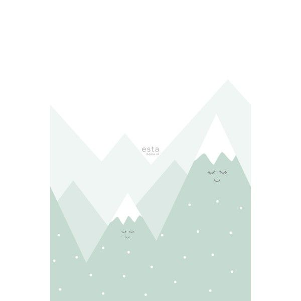 Wall mural mountains mint green