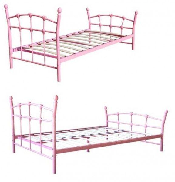 N55 Piękne łóżko Dziewczęce Metalowe Róż 140x200 Nursery