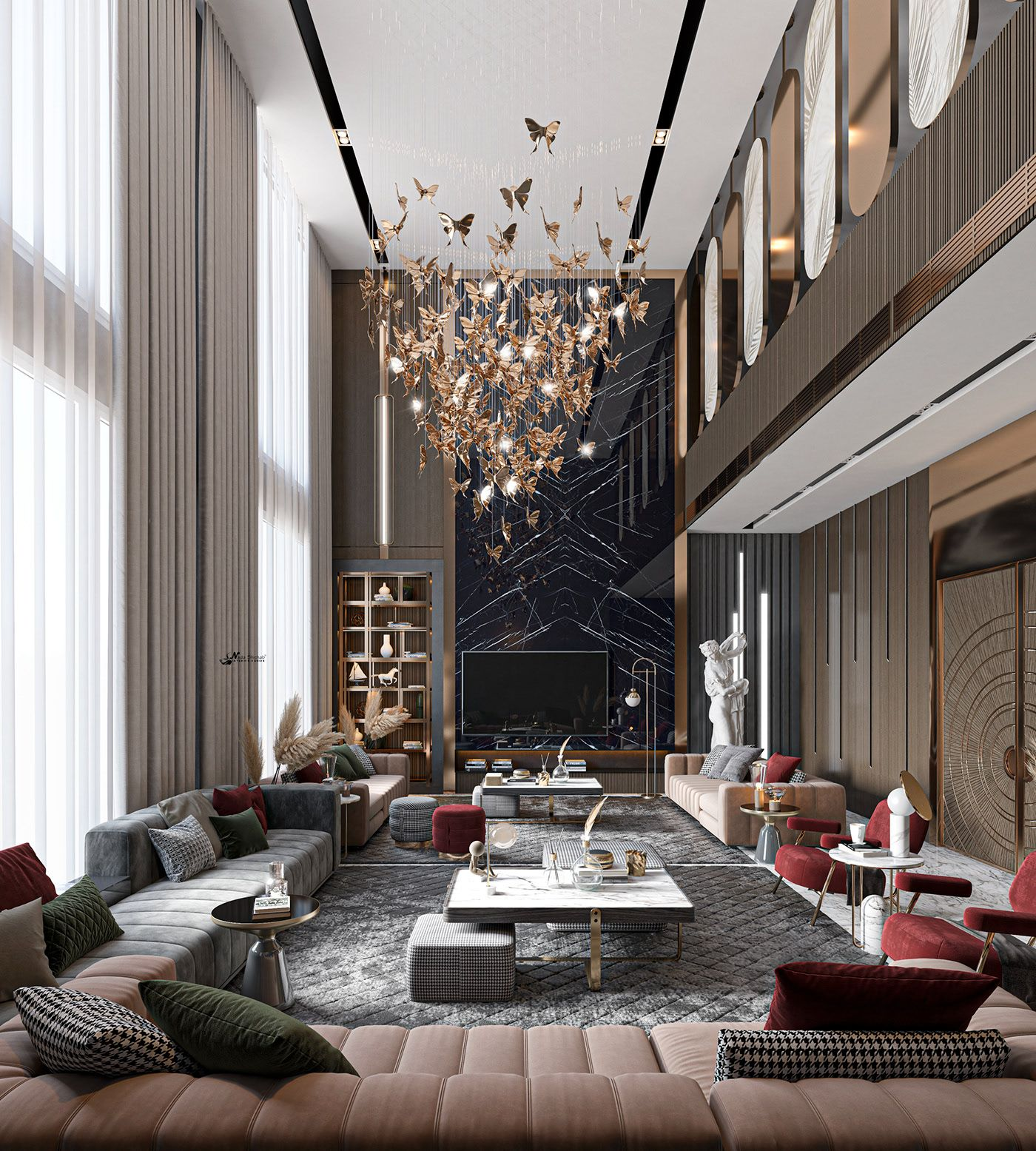 Luxury Double Height On Behance Luxury Living Room Design Luxury Apartments Interior Living Room Design Decor