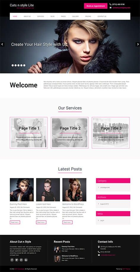Free hair salon WordPress theme for hair stylists and barbers and ...