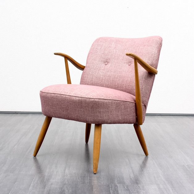 Super Bequemer Vintage Sessel Mit Sitzpolster In Rosa Comfortable