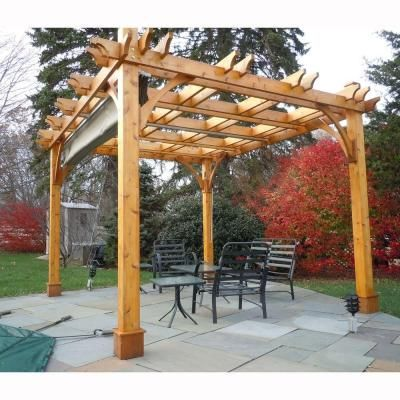 Outdoor Living Today Breeze Cedar 10 Ft X 12 Ft Pergola With Retractable Canopy Bz1012wrc The Home Depot Outdoor Pergola Canopy Outdoor Pergola Patio