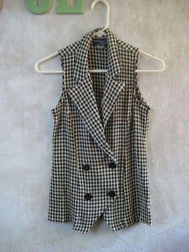 Vintage SEERSUCKER Checkered Vest XS S