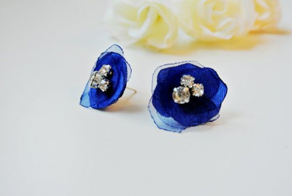 Flower Earrings Small Fabric Flower by DonataleAccessories on Etsy