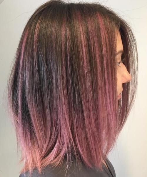 40 Pink Hairstyles As The Inspiration To Try Pink Hair Brown Hair With Pink Highlights Hair Styles Hair Highlights