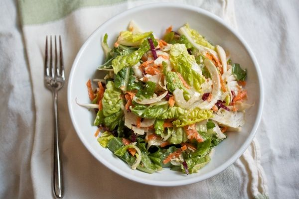 Romaine & Radicchio Salad with Shaved Fennel and Canlis Dressing